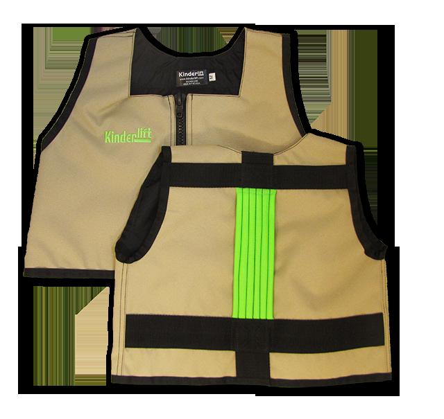 kacki and lime green Kinderlift vest